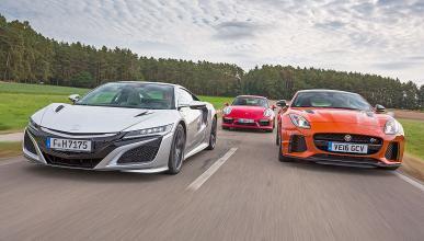 Comparativa: Honda NSX/Jaguar F-Type SVR/Porsche 911 Turbo