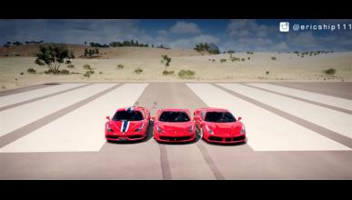 Ferrari 458 Vs Speciale Vs 488 GTB, en el Forza Horizon 3