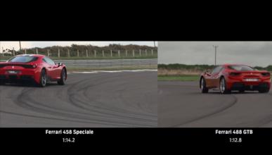 Vídeo: Ferrari 488 GTB contra Ferrari 458 Speciale