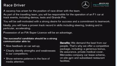 El curioso anuncio con el que Mercedes busca piloto