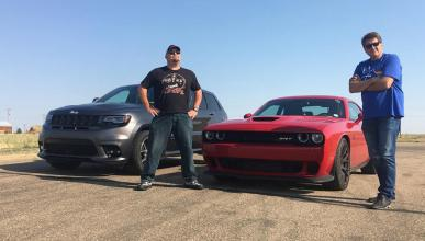 Dodge Challenger SRT Hellcat contra Jeep Grand Cherokee SRT