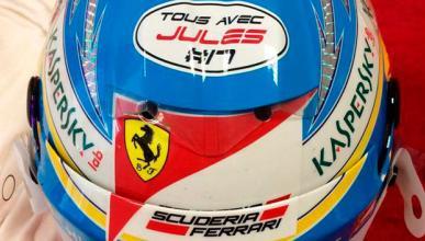 Mensaje en el casco de Fernando Alonso para Jules Bianchi
