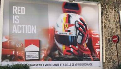 Vettel, imagen de un anuncio de Marlboro en Mónaco