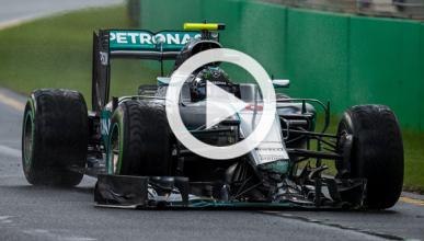 Vídeo: Nico Rosberg 'estrena' el muro del GP Australia