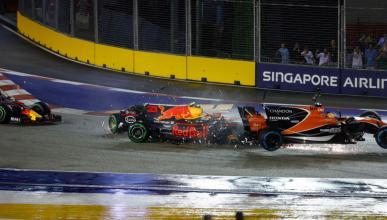 Accidente de Fernando Alonso, en la salida del GP Singapur
