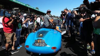 Alonso, en el drivers parade de Monza