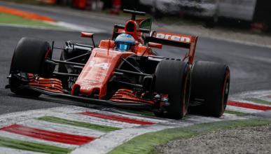 Fernando Alonso durante el GP italia 2017