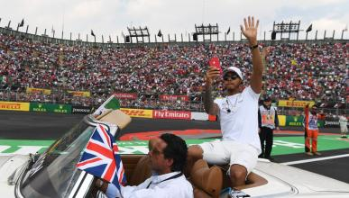 Lewis Hamilton, en la salida de México