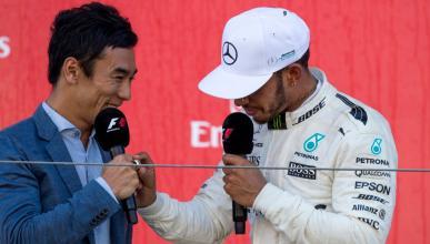 Lewis Hamilton y Takuma Sato en el podio del GP Japón 2017