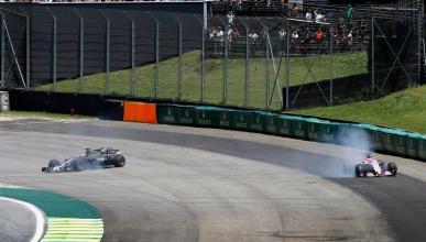 Grosjean y Ocon en el GP Brasil 2017