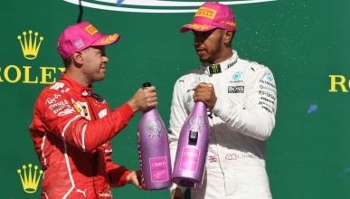 Hamilton y Vettel, en el podio