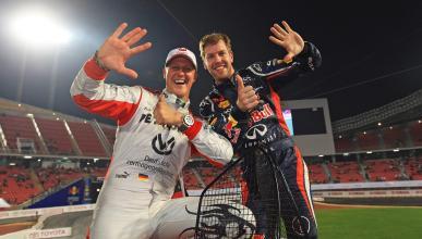 Sebastian Vettel y Michael Schumacher en la Carrera de Campeones