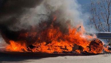 Alpine A110 en llamas