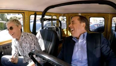 Jerry Seinfeld y Ellen DeGeneres se dan una vuelta en un Toyota FJ40