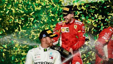 Hamilton y Vettel en el podio