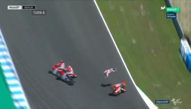 Accidente espectacular entre Pedrosa, Lorenzo y Dovizioso en Jerez