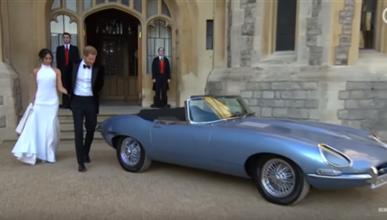 El príncipe Harry y Meghan Markle condujeron un Jaguar Type E eléctrico el día de su boda