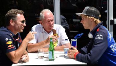 Brendon Hartley, Helmut Marko y Christian Horner