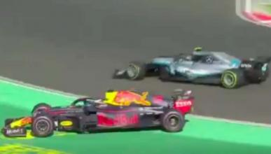 Bottas y Ricciardo toque
