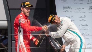 Hamilton y Vettel podio