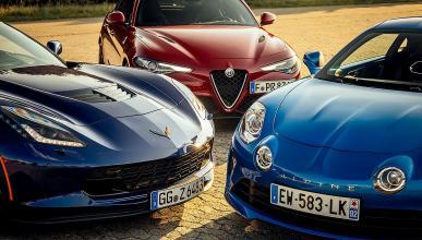 Alpine A110 vs Chevrolet CorvetteZ06 yAlfa GiuliaQuadrifoglio Verde