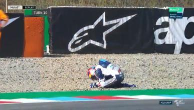 Jorge Martín se lesiona en el FP1 de Moto3