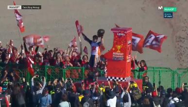 Marc Márquez celebra su título de MotoGP en Japón
