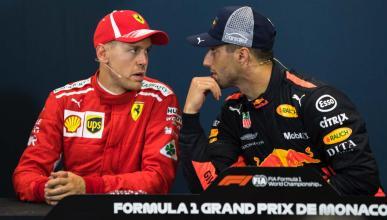 Ricciardo y Vettel en la rueda de prensa del GP de Mónaco
