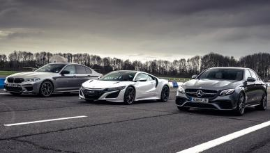 Honda NSX contra BMW M5 Competition y Mercedes AMG E 63 S