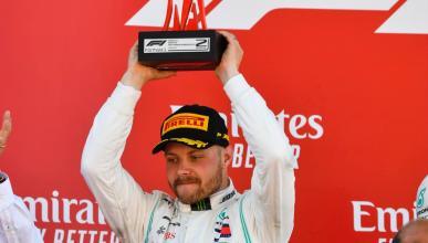 Valtteri Bottas en el podio de España