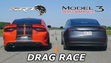Tesla Model 3 Performance y Dodge Charger SRT Hellcat