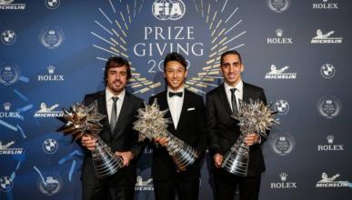 Fernando Alonso en la gala de la FIA