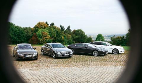 Mercedes CLS Audi A7 Aston Martin Rapide y Jaguar XJ