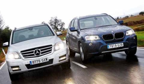 Mercedes-GLK-vs-BMW-X3-frontal-movimiento