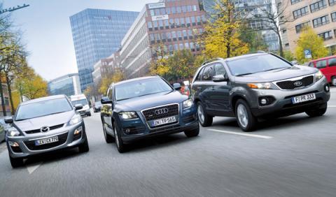SUV Mazda cx7 kia sorento audi Q5 comparativa