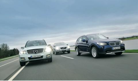 bmw-x1-mercedes-GLK-volvo-xc60-frontal