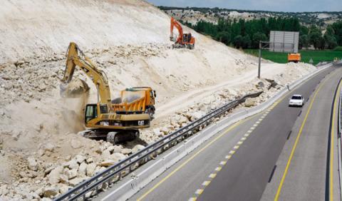 Una salida en obras de la carretera de Burgos A-1