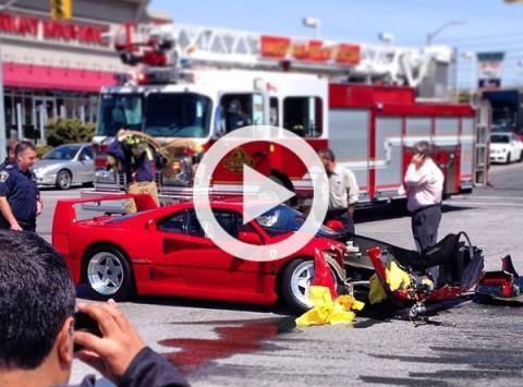Un Ferrari F40 destrozado por un Dodge Dart en Canadá