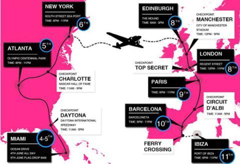 mapa Gumball 3000 2014