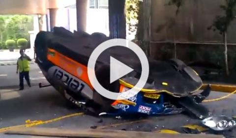 Un Seat León Súper Copa se cae desde 10 metros de altura