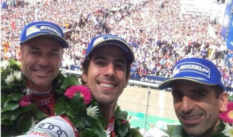 Gené podio Le Mans 2014
