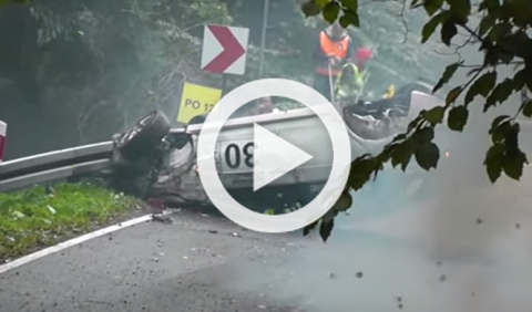 Espectacular accidente de un Mitsubishi Lancer en un rally
