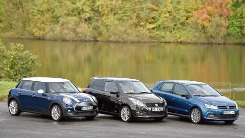 mini cinco puertas, vw polo, suzuki swift