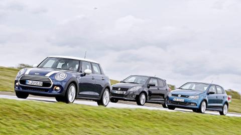 comparativa Mini Cooper 5p, Suzuki Swift, Volkswagen Polo