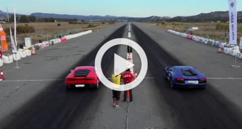 'Drag Race' entre un Lambo Aventador y un Lambo Huracan
