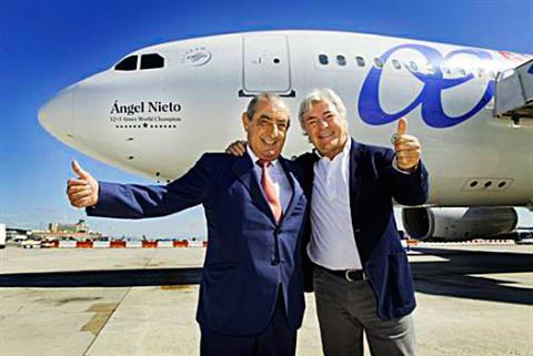 Dedican un Airbus 330 de Air Europa a Angel Nieto