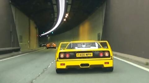 Un Lambo Aventador y un Ferrari F40 tiran abajo un túnel