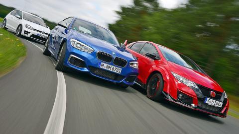 Comparativa radical: BMW M135i/Honda Civic Type R/VW Golf R