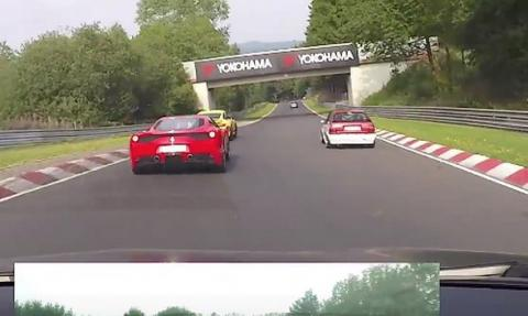 Vídeo: Mégane RS le 'pisa los talones' a un 458 Speciale