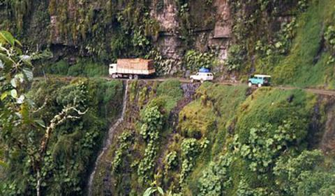 Carretera Yungas, en Bolivia